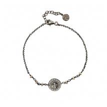 Oxette βραχιόλι 02X01-03001 σταυρός από επιπλατινωμένο ασήμι 925ο με ημιπολύτιμες πέτρες (πέρλες και κρύσταλλοι quartz)