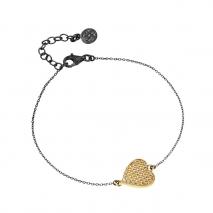 Oxette βραχιόλι 02X05-01742 καρδιά από επιχρυσωμένο ασήμι 925ο με ημιπολύτιμες πέτρες (ζιργκόν)