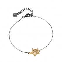 Oxette βραχιόλι 02X05-01745 αστέρι από επιχρυσωμένο ασήμι 925ο με ημιπολύτιμες πέτρες (ζιργκόν)