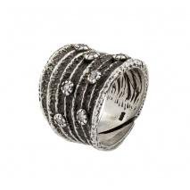 Oxette δαχτυλίδι 04X01-02685 από επιπλατινωμένο ασήμι 925ο με ημιπολύτιμες πέτρες (ζιργκόν)