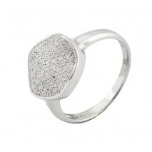 Oxette δαχτυλίδι 04X01-03382 από επιπλατινωμένο ασήμι 925ο με ημιπολύτιμες πέτρες (ζιργκόν)
