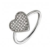 Oxette δαχτυλίδι 04X01-03546 καρδιά από επιπλατινωμένο ασήμι 925ο με ημιπολύτιμες πέτρες (ζιργκόν)