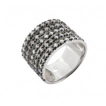 Oxette δαχτυλίδι 04X01-03561 από επιπλατινωμένο ασήμι 925ο με ημιπολύτιμες πέτρες (ζιργκόν)