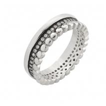 Oxette δαχτυλίδι 04X01-03563 από επιπλατινωμένο ασήμι 925ο με ημιπολύτιμες πέτρες (ζιργκόν)