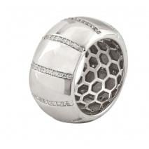Oxette δαχτυλίδι 04X01-03565 από επιπλατινωμένο ασήμι 925ο με ημιπολύτιμες πέτρες (ζιργκόν)