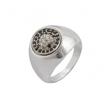 Oxette δαχτυλίδι 04X01-03567 από επιπλατινωμένο ασήμι 925ο με ημιπολύτιμες πέτρες (ζιργκόν)