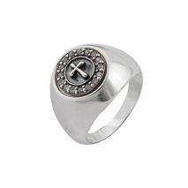 Oxette δαχτυλίδι 04X01-03568 σταυρός από επιπλατινωμένο ασήμι 925ο με ημιπολύτιμες πέτρες (ζιργκόν)