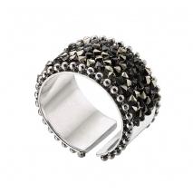 Oxette δαχτυλίδι 04X01-03571 από επιπλατινωμένο ασήμι 925ο με ημιπολύτιμες πέτρες (κρύσταλλοι quartz)