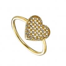 Oxette δαχτυλίδι 04X05-01365 καρδιά από επιχρυσωμένο ασήμι 925ο με ημιπολύτιμες πέτρες (ζιργκόν)