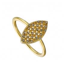 Oxette δαχτυλίδι 04X05-01366 οβάλ από επιχρυσωμένο ασήμι 925ο με ημιπολύτιμες πέτρες (ζιργκόν)
