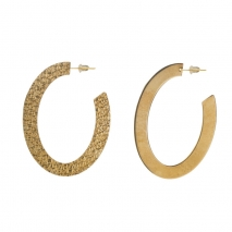 Oxette Sterling Silver Earrings 03X05-02255 Hoops with Gold Plating 2