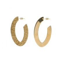 Oxette Sterling Silver Earrings 03X05-02256 Hoops with Gold Plating 2