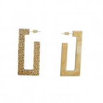 Oxette Sterling Silver Earrings 03X05-02257 Rectangles with Gold Plating 2