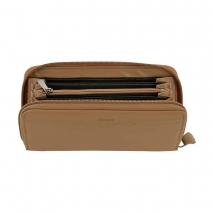 Ανδρικό πορτοφόλι Visetti LO-WA029C μακρόστενο με φερμουάρ από γνήσιο δέρμα σε καφέ χρώμα ανοιγμένο