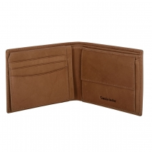 Ανδρικό πορτοφόλι Visetti XL-WA001C από γνήσιο δέρμα σε ανοιχτό καφέ χρώμα ανοιγμένο