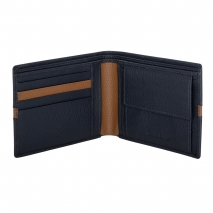 Ανδρικό πορτοφόλι Visetti XL-WA003MC από γνήσιο δέρμα σε μπλε χρώμα με καφέ λεπτομέρεια ανοιγμένο
