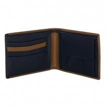 Ανδρικό πορτοφόλι Visetti XL-WA004CM από γνήσιο δέρμα σε καφέ χρώμα με μπλε λεπτομέρεια ανοιγμένο