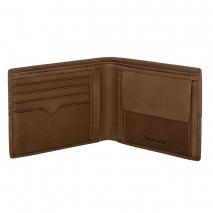 Ανδρικό πορτοφόλι Visetti XL-WA005C από γνήσιο δέρμα σε καφέ χρώμα με ανάγλυφες λεπτομέρειες ανοιγμένο