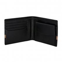 Ανδρικό πορτοφόλι Visetti XL-WA008BC από γνήσιο δέρμα σε μαύρο χρώμα με καφέ λεπτομέρεια ανοιγμένο