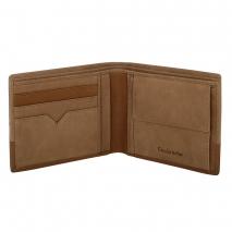 Ανδρικό πορτοφόλι Visetti XL-WA009C από γνήσιο δέρμα με δύο αποχρώσεις του καφέ ανοιγμένο