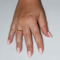Handmade wedding ring with sterling silver gold plating and precious stones (zircon) IJ-010478-G worn in hand
