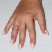 Handmade wedding ring with sterling silver gold plating and precious stones (zircon) IJ-010479-G worn in hand