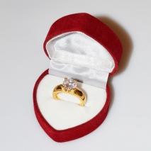 Handmade wedding ring with sterling silver gold plating and precious stones (zircon) IJ-010482-G in gift box