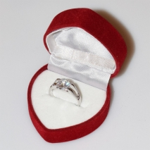 Handmade wedding ring with sterling silver platinum plating and precious stones (zircon) IJ-010488-S in gift box