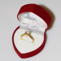 Handmade wedding ring with sterling silver gold plating and precious stones (zircon) IJ-010489-G in gift box