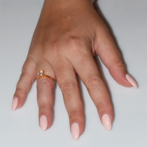 Handmade wedding ring with sterling silver gold plating and precious stones (zircon) IJ-010489-G worn in hand