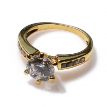 Handmade wedding ring with sterling silver gold plating and precious stones (zircon) IJ-010491-G