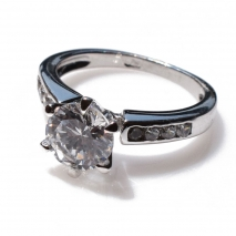 Handmade wedding ring with sterling silver platinum plating and precious stones (zircon) IJ-010491-S