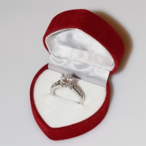 Handmade wedding ring with sterling silver platinum plating and precious stones (zircon) IJ-010491-S in gift box