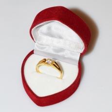 Χειροποίητο δαχτυλίδι μονόπετρο από επιχρυσωμένο ασήμι 925ο με ημιπολύτιμες πέτρες (ζιργκόν) IJ-010485-G στο κουτί συσκευασίας
