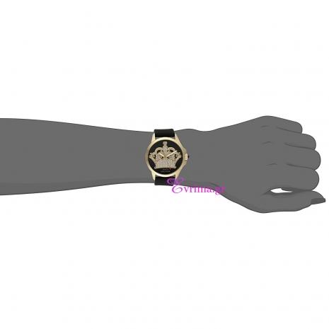 Juicy Couture Ρολόι από χρυσό ανοξείδωτο ατσάλι με μαύρο λουράκι από καουτσούκ 1901142 στο χέρι