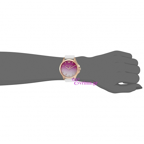 Juicy Couture Ρολόι από ροζ χρυσό ανοξείδωτο ατσάλι με λευκό λουράκι από καουτσούκ 1901405 στο χέρι