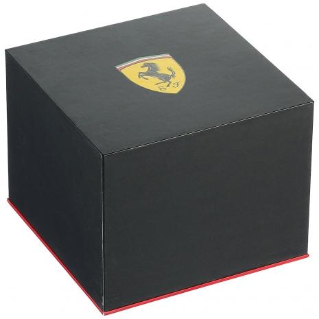 Ferrari Ρολόι από μαύρο ανοξείδωτο ατσάλι με κόκκινο λουράκι από καουτσούκ 0830338 κουτί