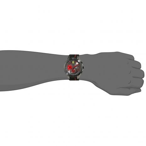 Ferrari Ρολόι από μαύρο ανοξείδωτο ατσάλι με μαύρο λουράκι από καουτσούκ 0830341 στο χέρι