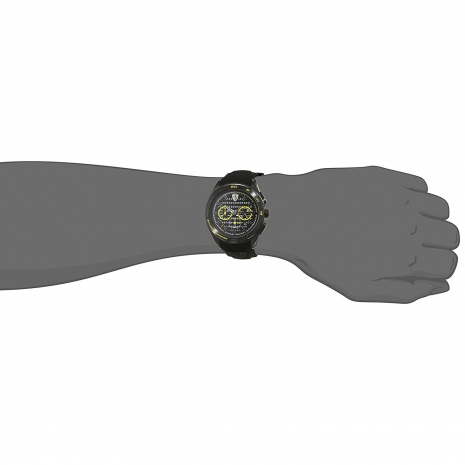 Ferrari Ρολόι από μαύρο ανοξείδωτο ατσάλι με μαύρο λουράκι από καουτσούκ 0830345 στο χέρι