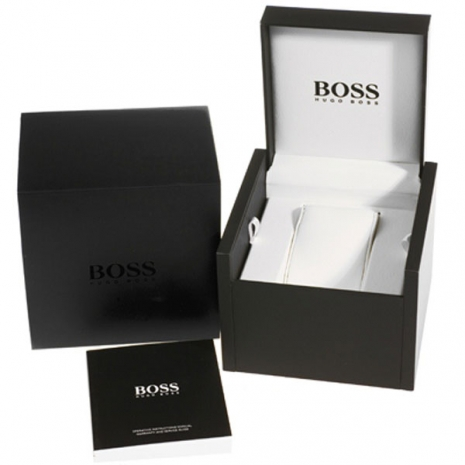Hugo Boss Ρολόι από ανοξείδωτο ατσάλι με καφέ δερμάτινο λουράκι 1513255 κουτί