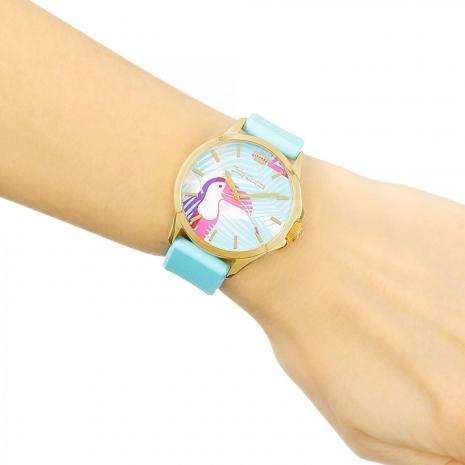 Juicy Couture ρολόι από χρυσό ανοξείδωτο ατσάλι με γαλάζιο λουράκι σιλικόνης 1901426 εικόνα 3