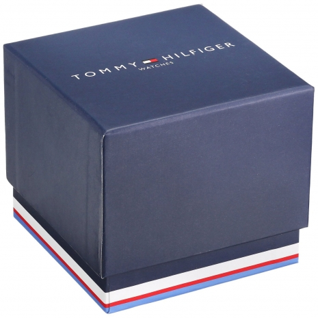 Tommy Hilfiger Watch with stainless steel and black leather strap 1791216 Box