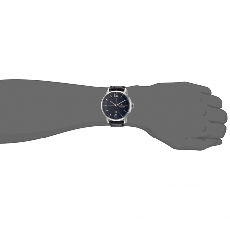 Tommy Hilfiger Watch with stainless steel and black leather strap 1791216 at Hand