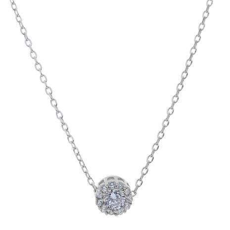 Σετ κοσμημάτων Prince Silvero (κολιέ, σκουλαρίκια και δαχτυλίδι) από επιπλατινωμένο ασήμι 925ο με ημιπολύτιμες πέτρες (ζιργκόν). JD-SE170-SET κολιέ μέρος του σετ