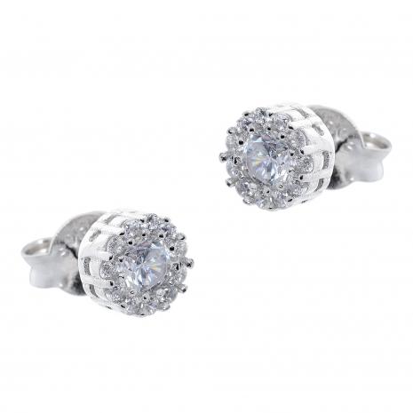 Σετ κοσμημάτων Prince Silvero (κολιέ, σκουλαρίκια και δαχτυλίδι) από επιπλατινωμένο ασήμι 925ο με ημιπολύτιμες πέτρες (ζιργκόν). JD-SE170-SET σκουλαρίκια μέρος του σετ