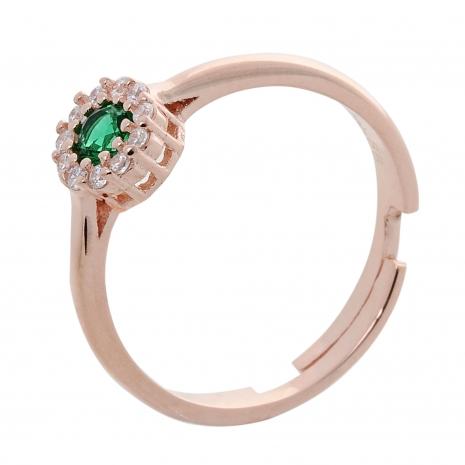 Σετ κοσμημάτων Prince Silvero (κολιέ, σκουλαρίκια και δαχτυλίδι) από ροζ επιχρυσωμένο ασήμι 925ο με ημιπολύτιμες πέτρες (ζιργκόν). JD-SE170G-R-SET δαχτυλίδι μέρος του σετ