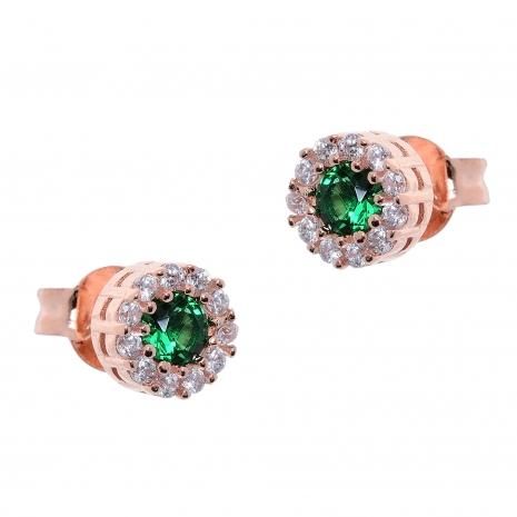 Σετ κοσμημάτων Prince Silvero (κολιέ, σκουλαρίκια και δαχτυλίδι) από ροζ επιχρυσωμένο ασήμι 925ο με ημιπολύτιμες πέτρες (ζιργκόν). JD-SE170G-R-SET σκουλαρίκια μέρος του σετ