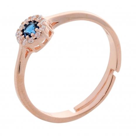 Σετ κοσμημάτων Prince Silvero (κολιέ, σκουλαρίκια και δαχτυλίδι) από ροζ επιχρυσωμένο ασήμι 925ο με ημιπολύτιμες πέτρες (ζιργκόν). JD-SE170M-R-SET δαχτυλίδι μέρος του σετ
