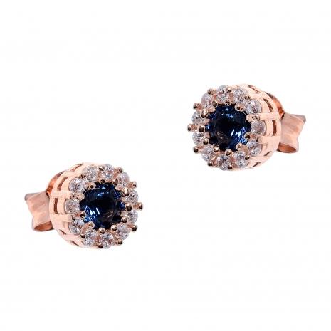 Σετ κοσμημάτων Prince Silvero (κολιέ, σκουλαρίκια και δαχτυλίδι) από ροζ επιχρυσωμένο ασήμι 925ο με ημιπολύτιμες πέτρες (ζιργκόν). JD-SE170M-R-SET σκουλαρίκια μέρος του σετ
