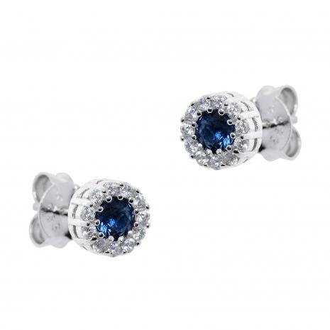 Σετ κοσμημάτων Prince Silvero (κολιέ, σκουλαρίκια και δαχτυλίδι) από επιπλατινωμένο ασήμι 925ο με ημιπολύτιμες πέτρες (ζιργκόν). JD-SE170M-SET σκουλαρίκια μέρος του σετ